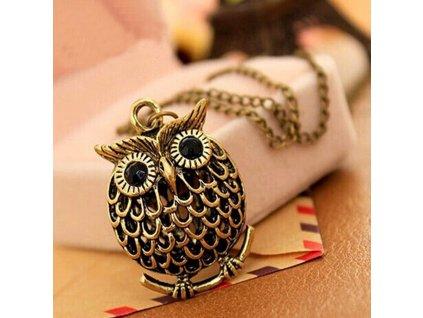 Bronzový náhrdelník Sova