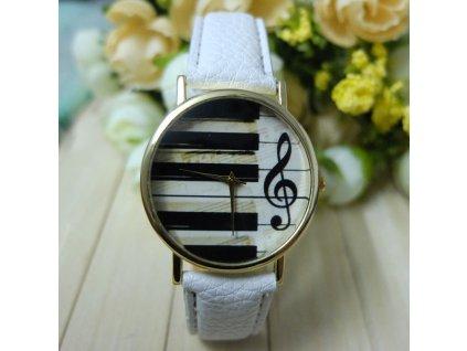 Kožené hodinky Klávesy bílé
