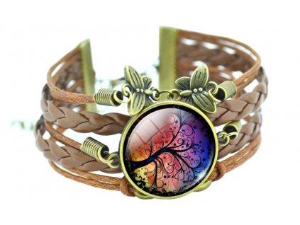 Vintage kožený náramek Strom života