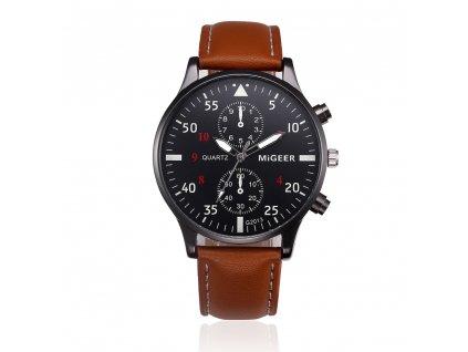 Elegantní kožené hodinky pánské hnědé