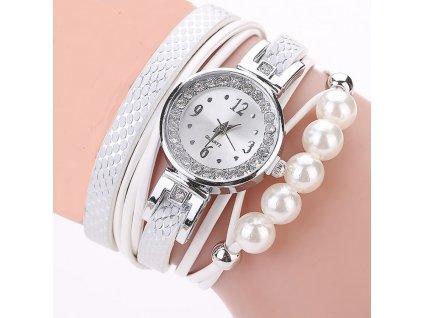Dámské perlové hodinky - Bílé