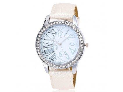 Dámské sluneční hodinky s kamínky Bílé