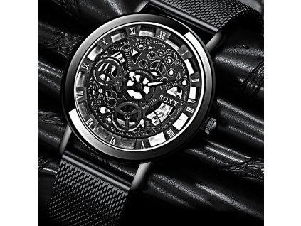 Extravagantní unisex kovové hodinky černé