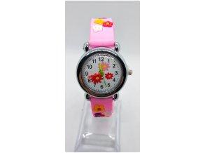 Dětské květinové hodinky růžové