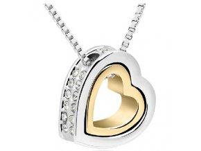 Stříbrný náhrdelník Dvojité srdce zlato bílý