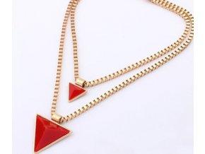 Náhrdelník Dvojitý trojúhelník červený