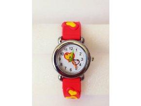 Dětské červené hodinky Srdíčka