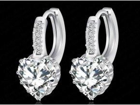 Náušnice Srdíčkový krystal stříbrné