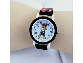 Dětské černé hodinky Tlapková patrola
