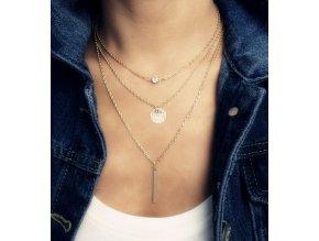 3 vrstvý náhrdelník s kamínkem