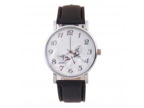 Kožené hodinky Motýlek černé