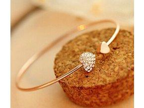 Lady náramek zlatý srdce zirkonové kamínky