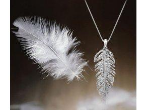 Náhrdelník Třpytivé pírko stříbrný