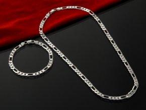 Set řetízek s náramkem stříbrný