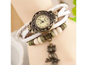 Kožené Vintage hodinky Sova bílé