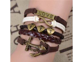 Vintage kožený náramek Uvězněná láska