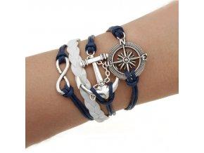Náramek Vintage kožený Námořnický kompas modrý