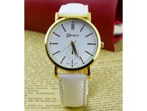 Kožené dámské analogové hodinky Geneva bílé