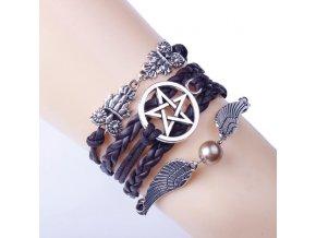 Kožený Vintage náramek Pentagram