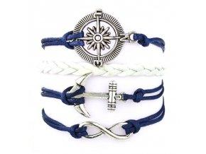 Kožený Vintage náramek Kompas malá Kotva modrý