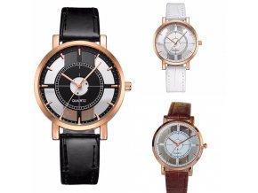 Dámské průhledné hodinky kožené