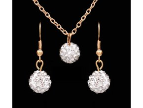 Sada Diamantové kuličky náušnice řetízek s přívěškem bílé