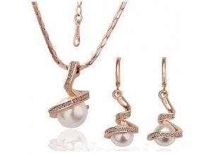 zlatá sada Spirálové perly náušnice řetízek s přívěškem