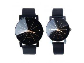 kožené černé hodinky Rozeta