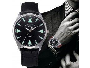 Kožené analogové hodinky pánské černé a hnědé