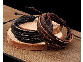 Náramek Kožené provázky černý a hnědý