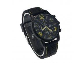 Prošívané Pánské hodinky žluté