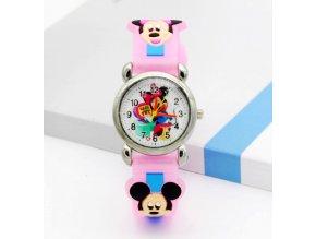 Dětské růžové hodinky Veselá Minnie