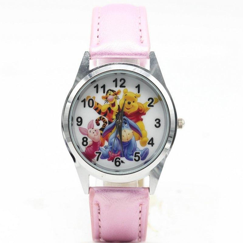 Dětské růžové hodinky Medvídek Pú s kamarády
