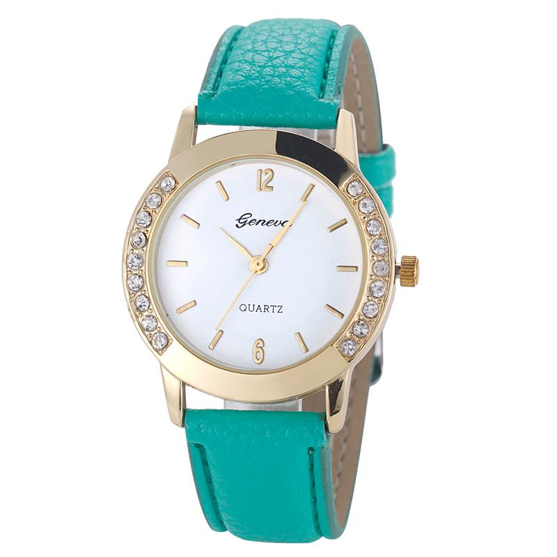 721b177151a Dámské kožené hodinky Geneva Elegance - 5 barev Barva  Tyrkysová zelená