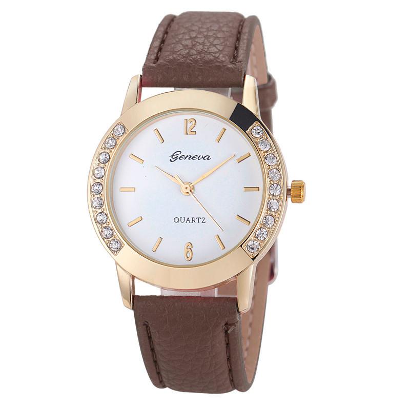 b20d9e201 Dámské kožené hodinky Geneva Elegance - 5 barev Barva: Hnědá