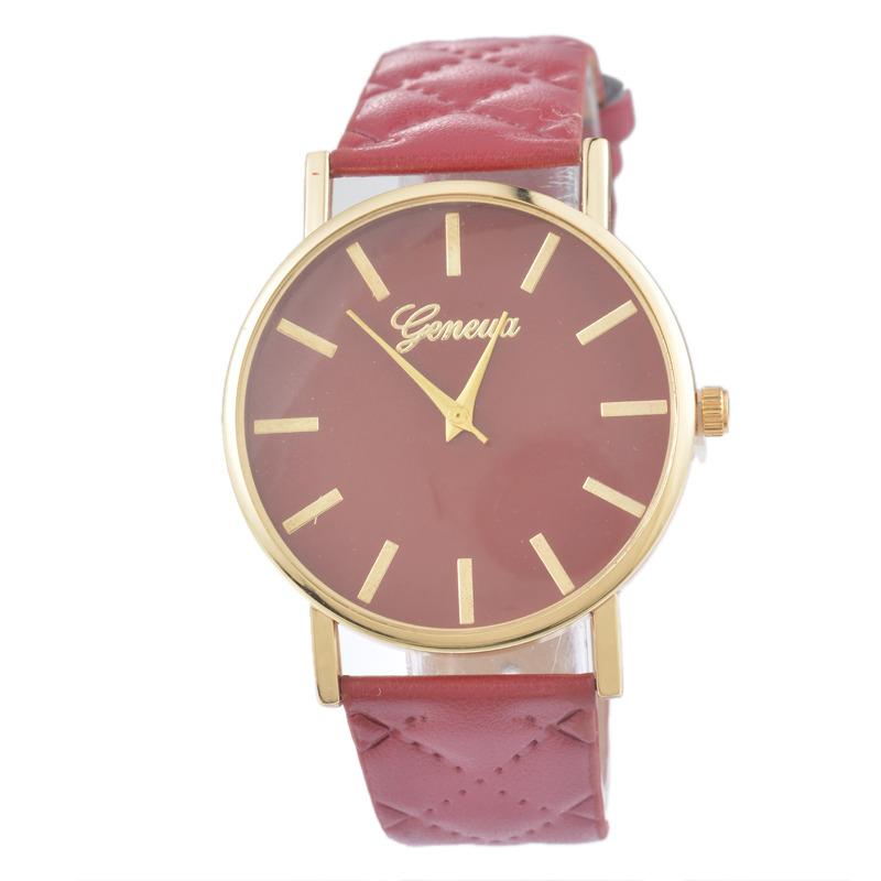 Dámské kožené prošívané hodinky Geneva - 10 barev Barva  Vínová 90e8b502db8