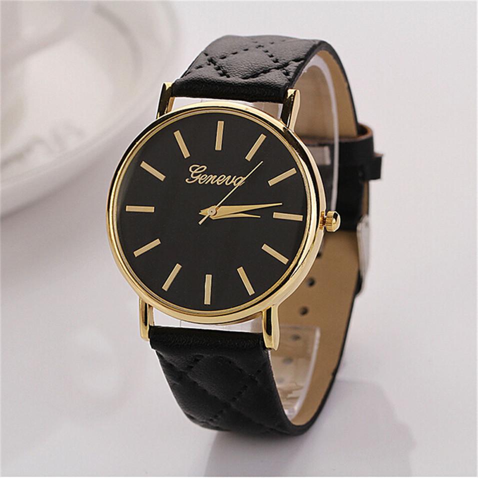Dámské kožené prošívané hodinky Geneva - 10 barev Barva: Černá