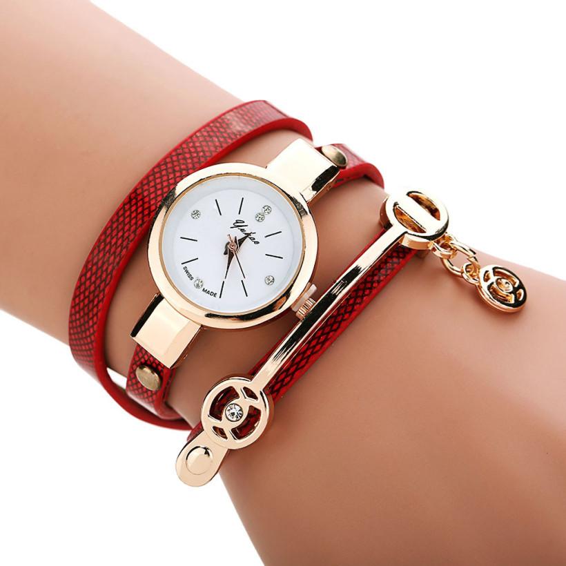Dámské kožené hodinky Kreativita - 5 barev Barva  Červená f11b998089