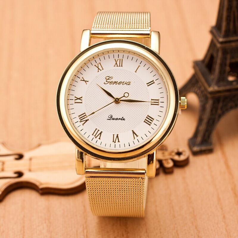 61f1e60ee2d Dámské zlaté páskové hodinky Geneva římské