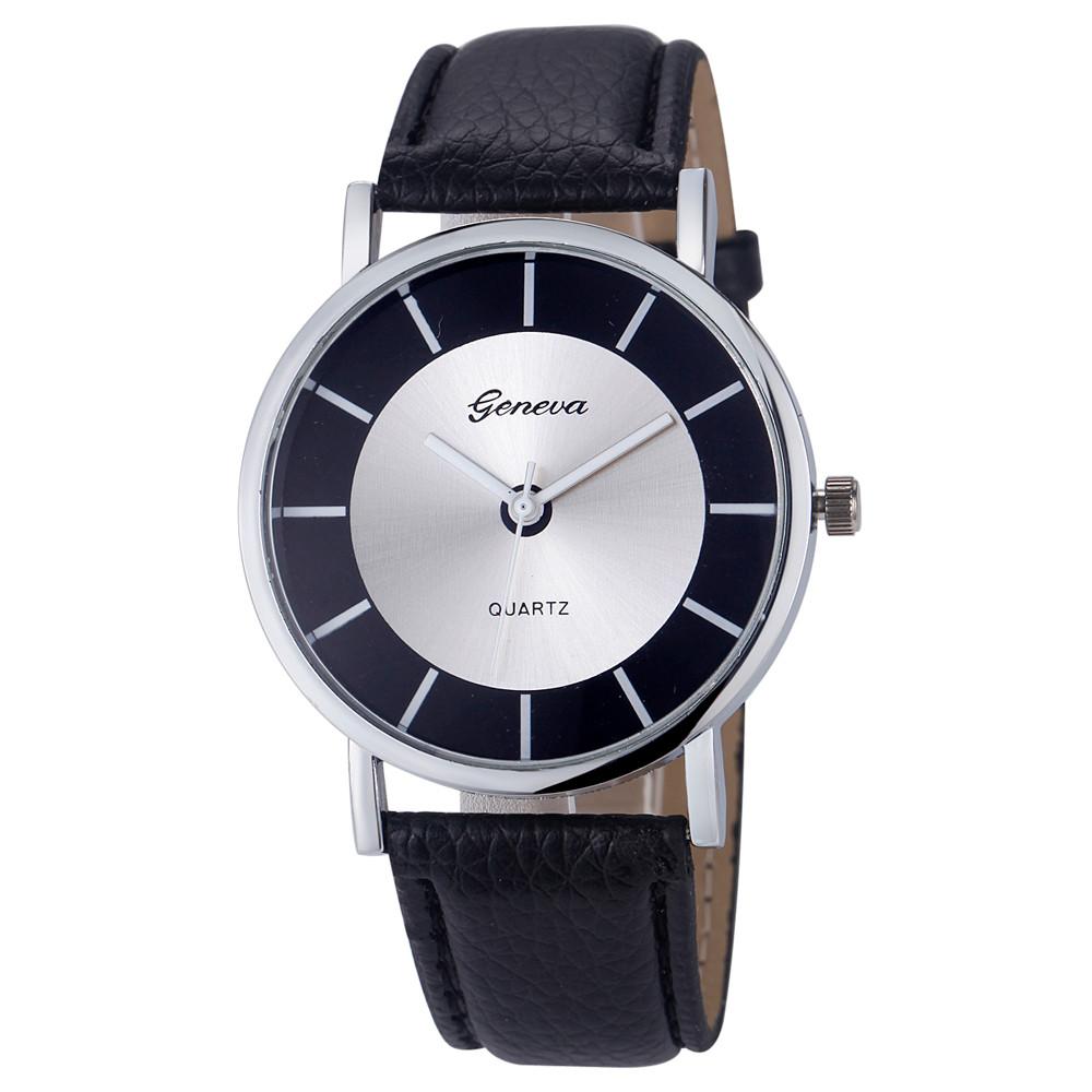 da606fb8ebe Úžasné unisex kožené Retro hodinky Geneva - 4 barvy Barva  Černá