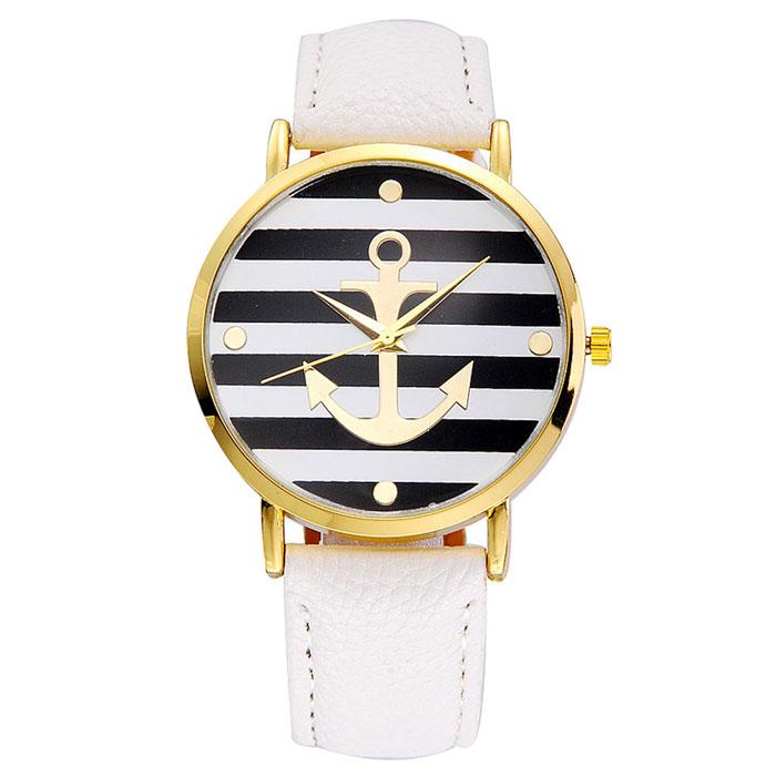 Kožené unisex volnočasové hodinky Námořník - 5 barev Barva: Bílé