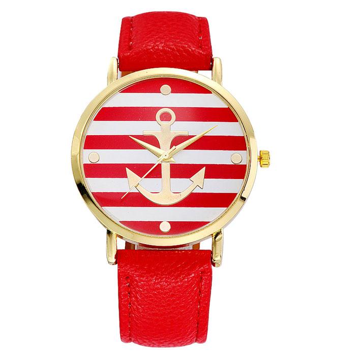 Kožené unisex volnočasové hodinky Námořník - 4 barvy Barva: Červené