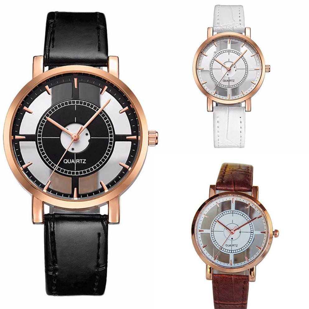 8e4ff6176 Dámské průhledné hodinky kožené - 3 barvy Barva: Černé