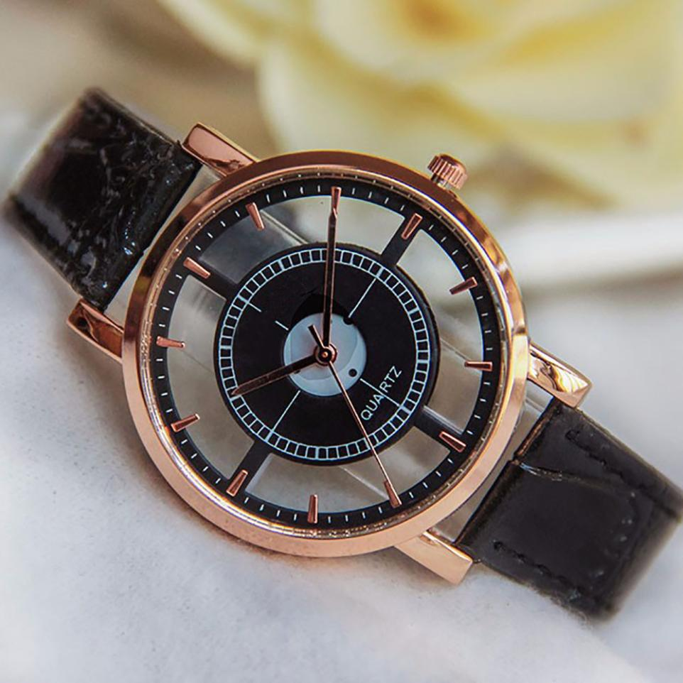 Dámské průhledné hodinky kožené - 3 barvy Barva: Bílé
