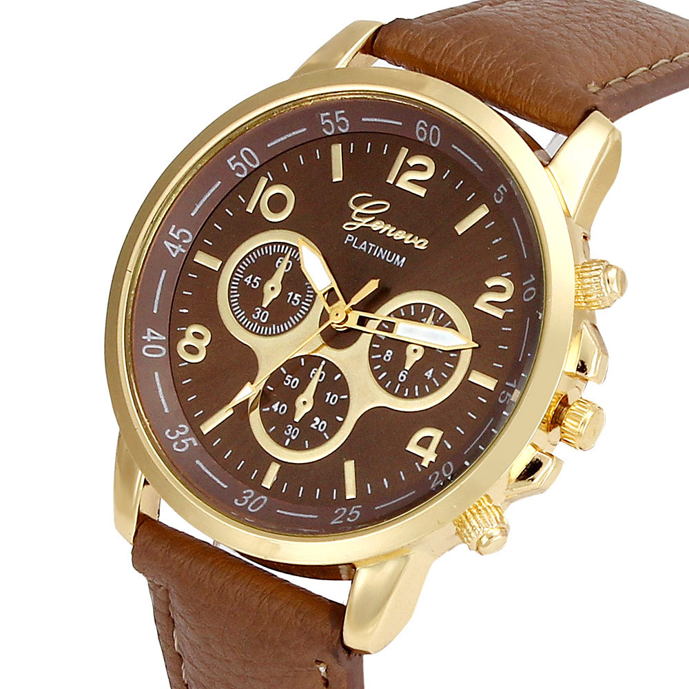 59d322237 Unisex kožené hodinky Geneva Platinum chrono - 7 barev Barva: Hnědé
