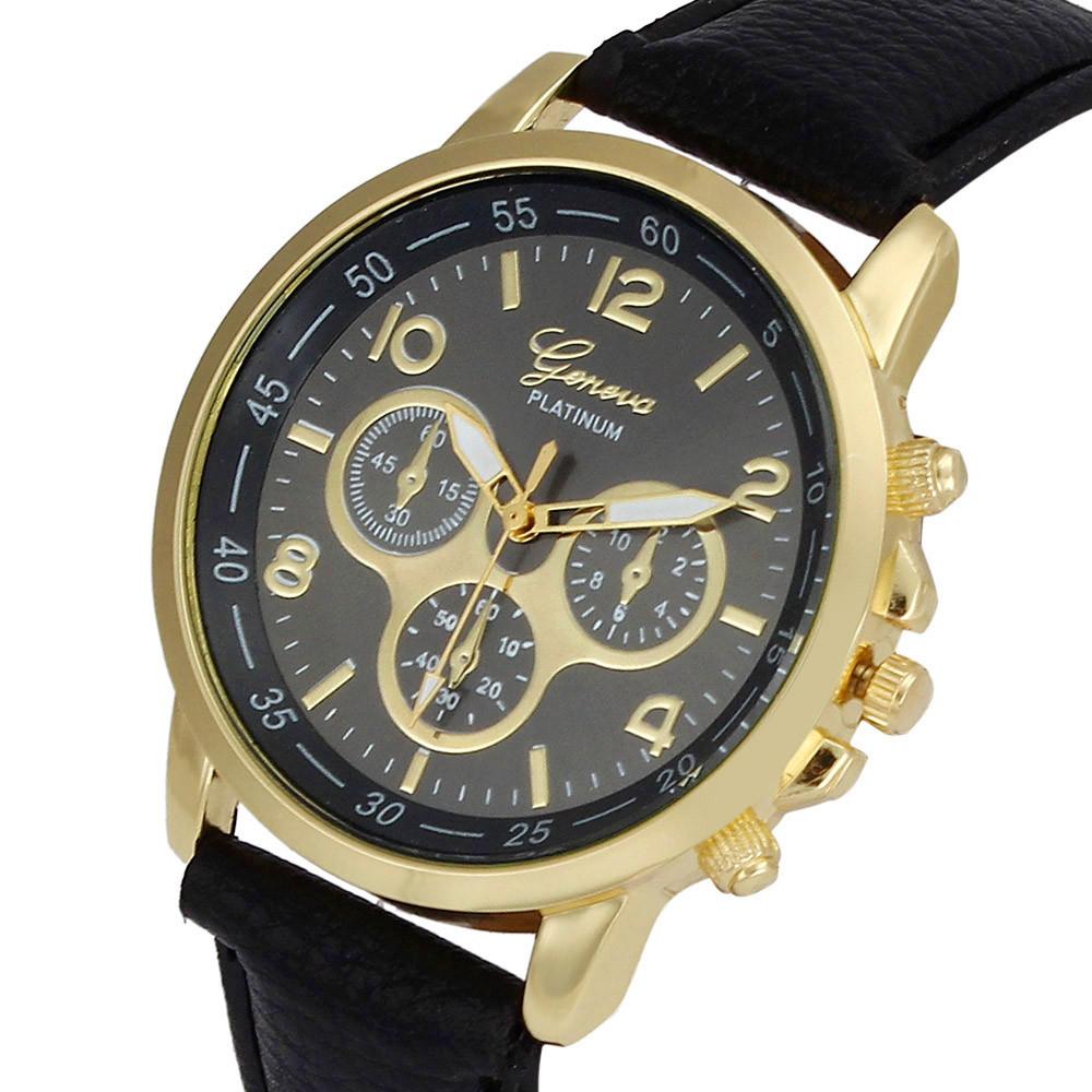 Unisex kožené hodinky Geneva Platinum chrono - 7 barev Barva: Černé