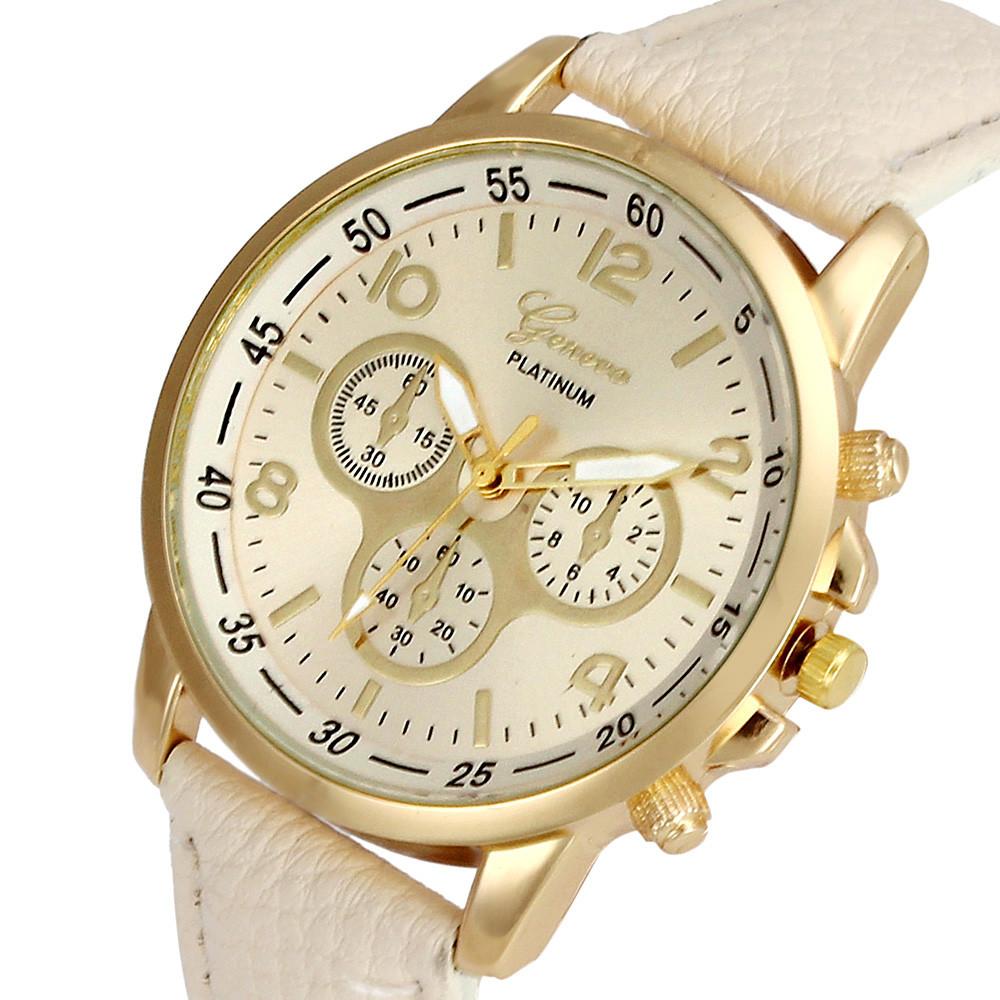 Unisex kožené hodinky Geneva Platinum chrono - 7 barev Barva: Béžové
