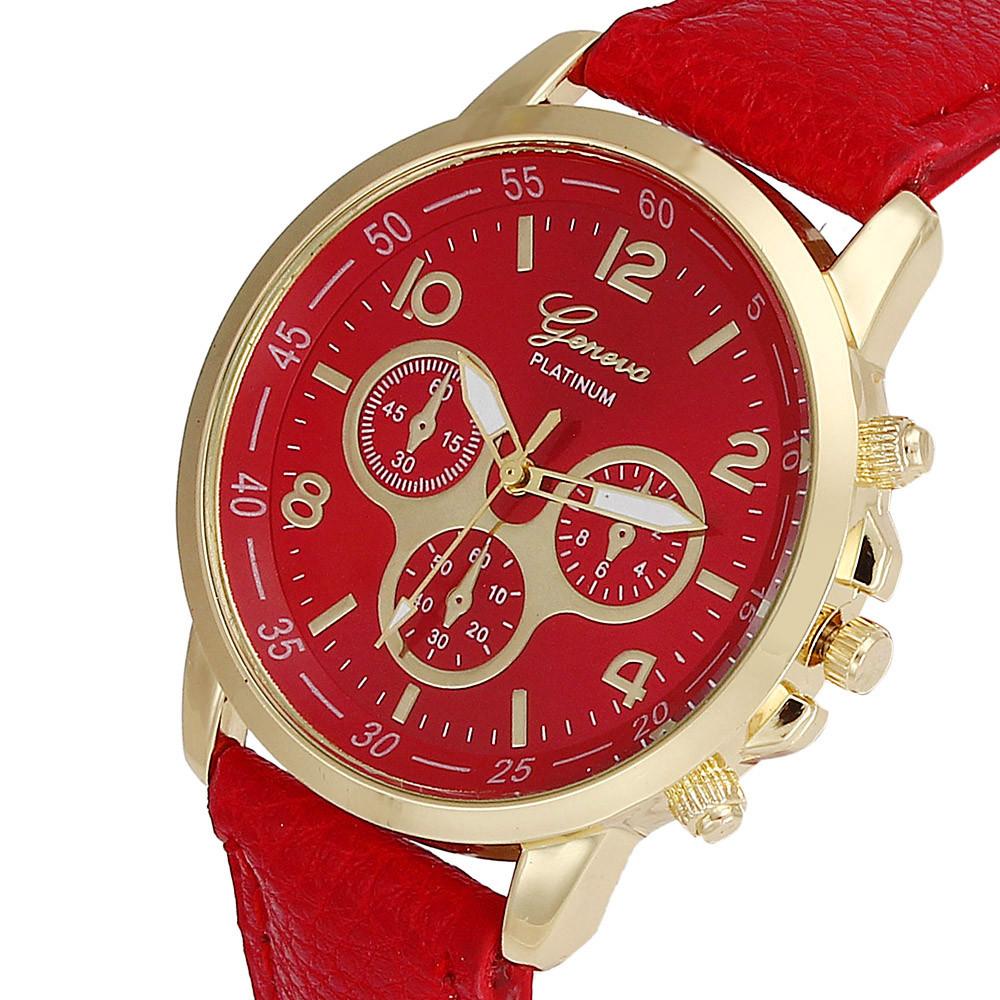 Unisex kožené hodinky Geneva Platinum chrono - 7 barev Barva: Červené