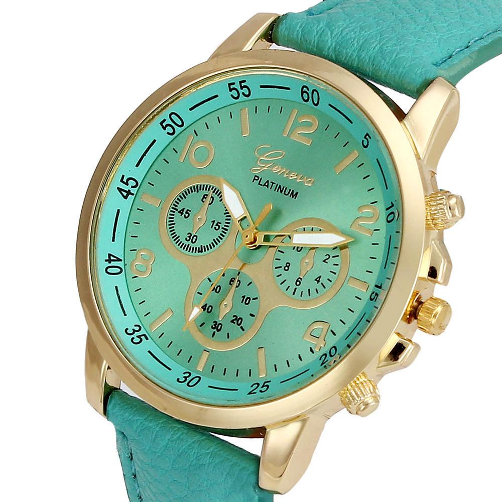 Unisex kožené hodinky Geneva Platinum chrono - 7 barev Barva: Zelené