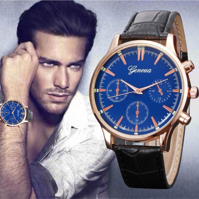 7de1d6075eb Kožené hodinky pánské - 2 barvy Barva  Černý